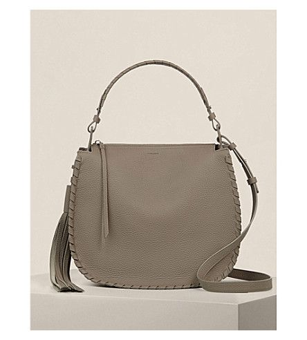 ALLSAINTS Mori leather hobo bag. #allsaints #bags #shoulder bags #hand bags #leather #hobo #