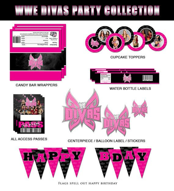 WWE Divas Party Collection by RedVelvetParties on Etsy, $11.99