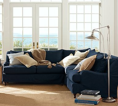 Carlisle slipcovered 3 piece l shaped sectional with for Navy couch living room
