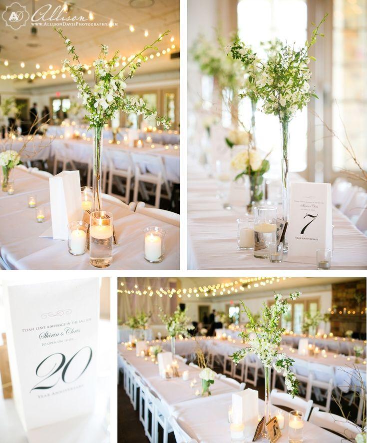 Romantic DIY Wedding Centerpieces Dallas Wedding at Winfrey Point at White Rock Lake by Allison Davis Photography