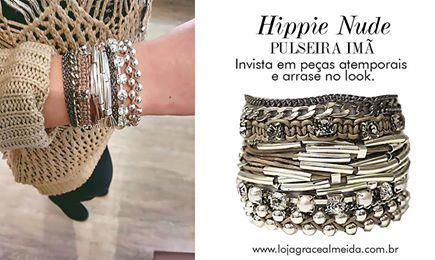 Acessório capaz de atualizar o look e de te acompanhar por muitas temporadas.... Na loja virtual: http://www.lojagracealmeida.com.br/pulseira-ima-hippie-nude.html