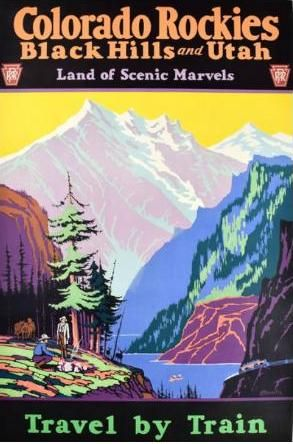 "via #IVPDA member Chicago Center for the Print ""Colorado Rockies Travel by Train (1926) Artist: H. M. Veenstra http://www.prints-posters.com/product/colorado-rockies-travel-by-train/""  #VintagePosters"