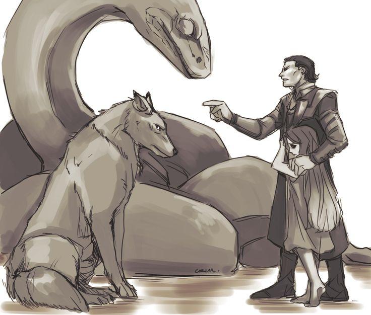 Loki- with his children Fenrir the Wolf, Jormungandr the Great Serpent, and Hel. Just missing Sleipnir.