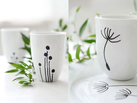s i n n e n r a u s c h: Porzellan - decorate plain porcelain w/paint pens. note: site in German