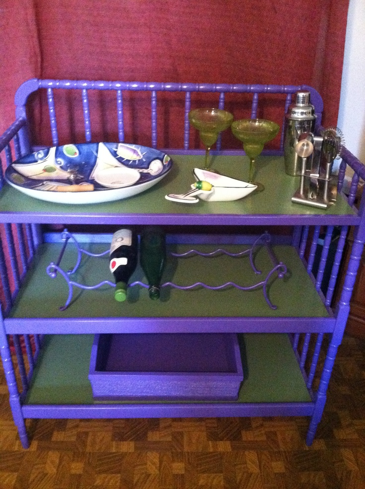 Diaper Changing Table Repurposed Into Mini Bar Trash To
