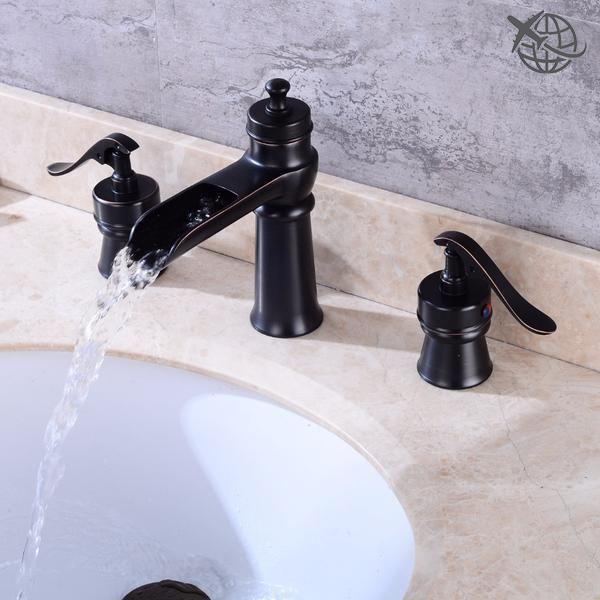 Luxury Oil Rubbed Bronze Roman Waterfall Bathroom Faucet