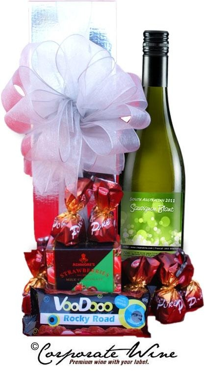 A Corporate Wine Gift Hamper which includes chocolates and South Australian Savignon Blanc makes a very pleasing  present!!