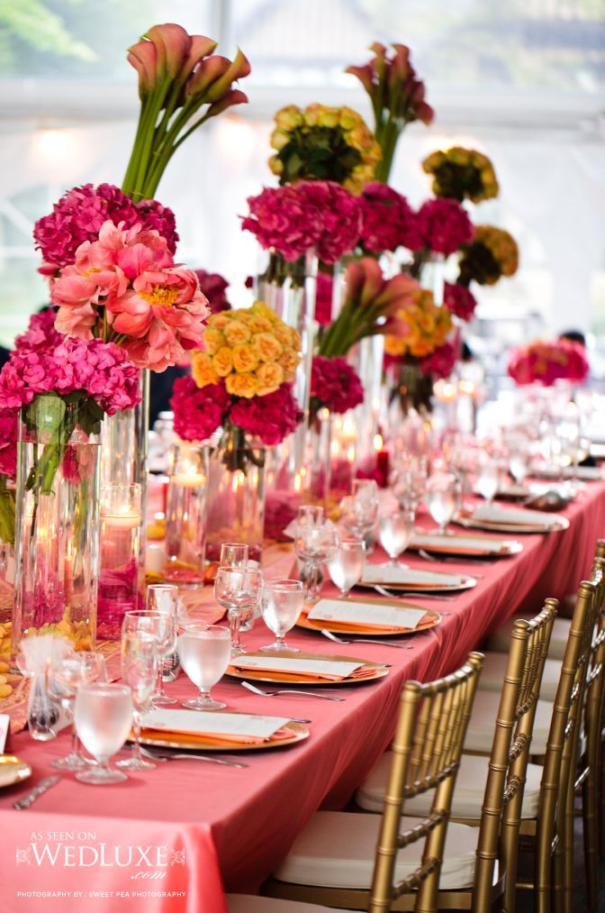 gorgeous statement centerpieces in bright bold colors for a wedding recepetion