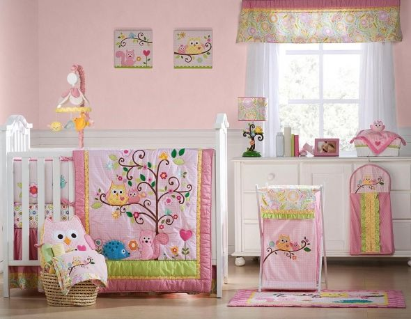{Kids Line Dena Happi Tree Set} I'm thinkin' about having another baby. I want an owl theme, cuz kid owl themes are adorable. This is what I'd want for a little girl.