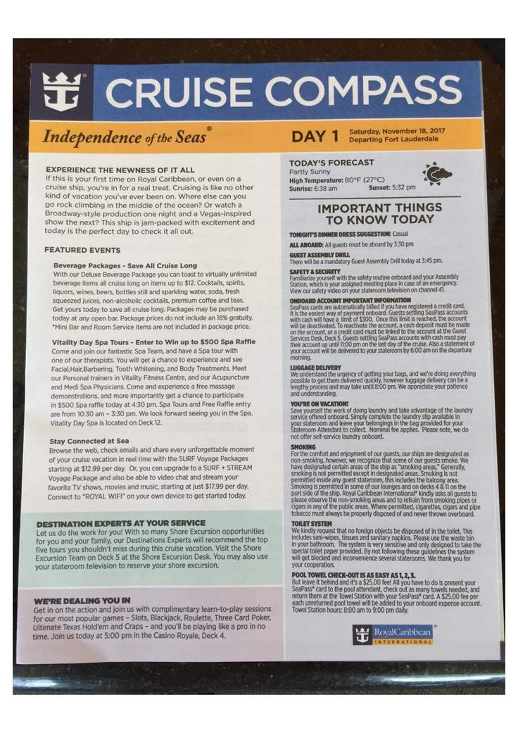 Independence of the Seas 5-night Western Caribbean Cruise Compass -