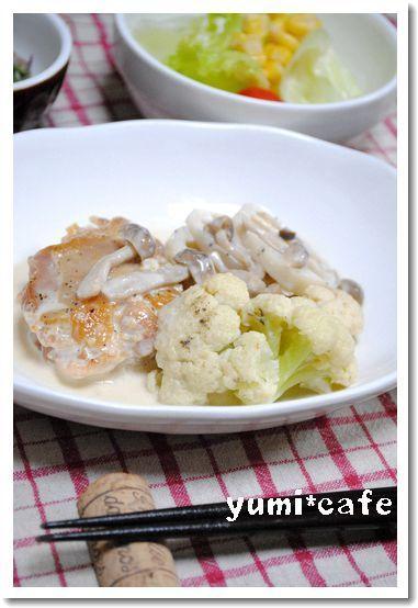鶏と野菜の味噌クリーム煮*    鳥はオーブン別焼きがいいかも。  白菜、にんじん、コーン、マッシュルーム、パスタで。
