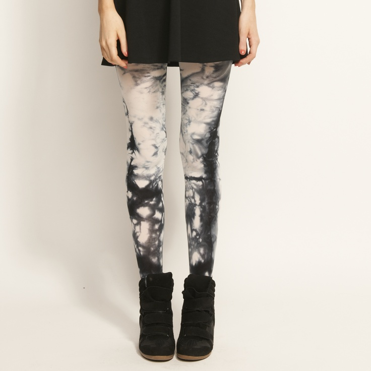 pair with dotti dress biker boots and faux fur vest. good night outfit for me :)  Image for Tie Dye Tights from Dotti