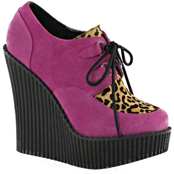 Demonia CREEPER-304 Pink Wedge Shoe (1,100 EGP) ❤ liked on Polyvore featuring shoes, wedge shoes, platform shoes, leopard platform shoes, pink shoes and wedge heel shoes