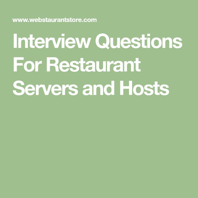 The 7 best Resume images on Pinterest Resume, Curriculum and - interview questions for servers