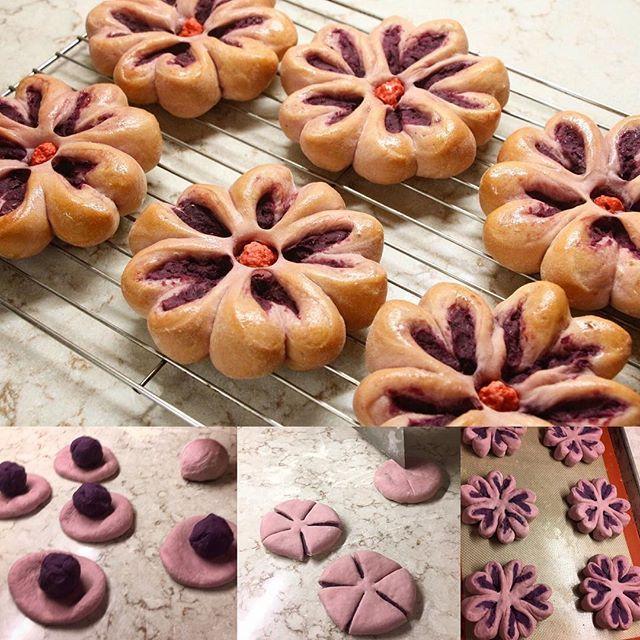 【bonbondechocolatmie】さんのInstagramをピンしています。 《Purple Sweet Potato Bread🌸Cherry Blossom. Pain au Patate Douce Violette. 紫芋のお花パン🌸綺麗な桜色の生地になりました😊  #baking #homemade #bread #flowers #sweetpotato #purple #purplesweetpotato #sweet #pain #faitmaison #patatedouce #violette #cherryblossom #パン #おやつ #手作り#お花 #桜 #紫芋 #スイーツ #かわいい #菓子パン #芋あん #紅芋》