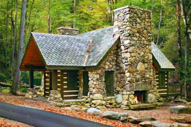 Stone Log Cabin Home Pinterest