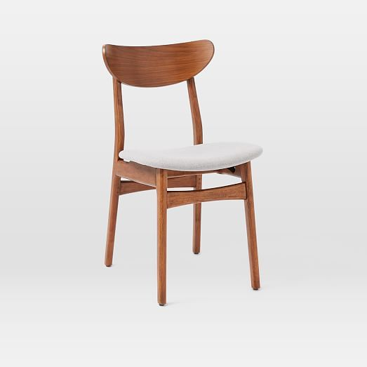 west elm classic café dining chair in walnut frame with feather grey upholstered seat