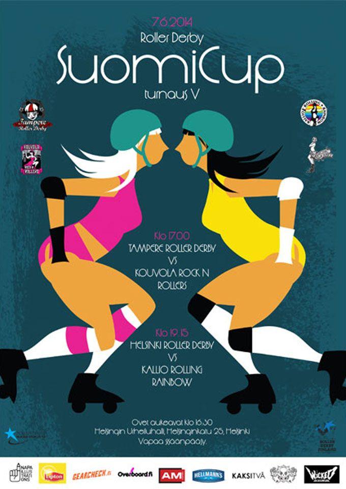 Helsinki Roller Derby poster by Kati Närhi