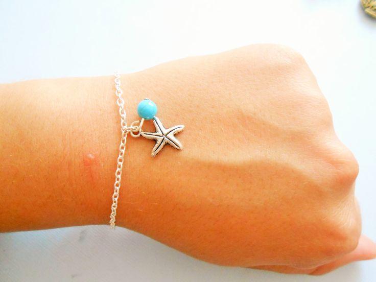 bracelet étoile de mer- bracelet plage - bracelet marin - bracelet étoile de mer argenté - bracelet étoile - bracelet été : Bracelet par esthete-bijoux