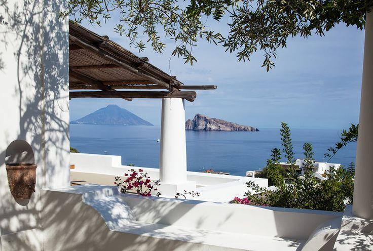 Terrace with sea view at Hotel Raya, Panarea Island, Italy