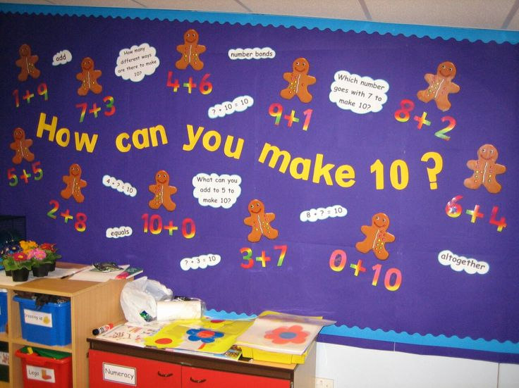 Early years numeracy display, showing number bonds to 10.