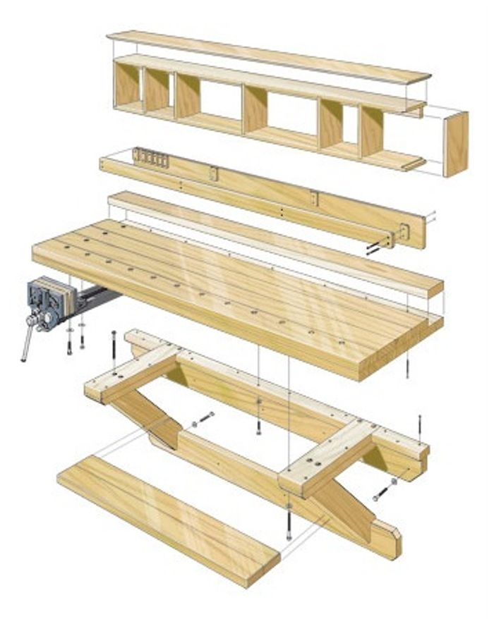 Diy Wall Hung Workbench Plans Woodworking Session Woodworking Shop Garage Work Bench Folding Workbench