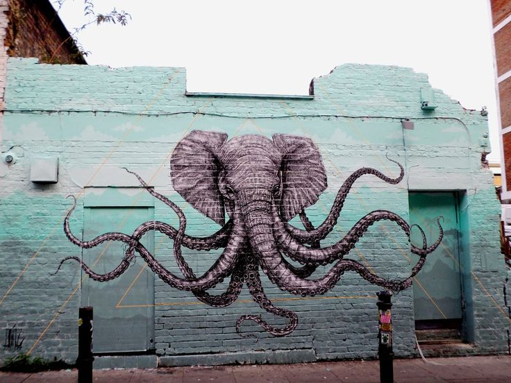 13 best images about art on pinterest the octopus lion for Elephant wall mural
