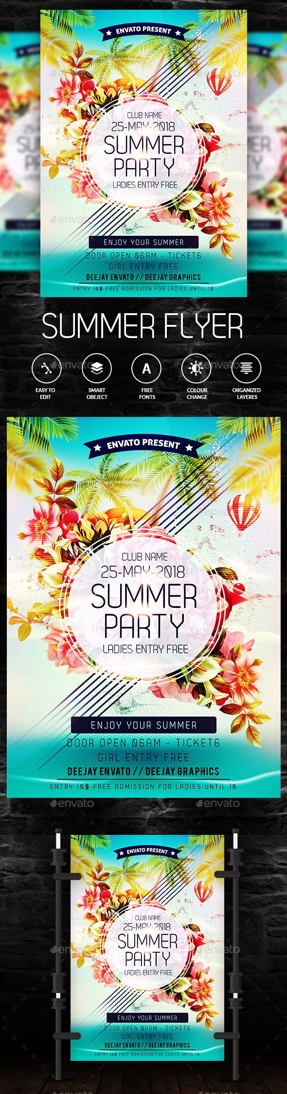 Summer Party Flyer — Photoshop PSD #flyer #flowers • Available here → https://graphicriver.net/item/summer-party-flyer/19879922?ref=pxcr