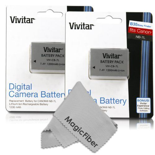 (2 Pack) Vivitar NB-7L Ultra High Capacity 1200mAH Li-ion Batteries for CANON PowerShot G10 G11 G12 SX30 IS SX30IS (Canon NB-7L Replacement)
