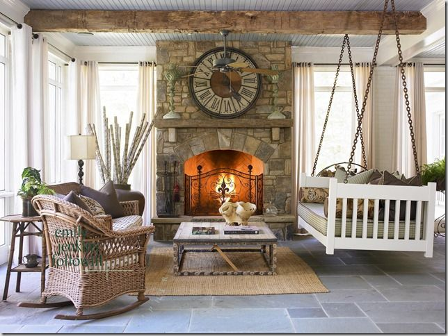 Floor, fireplace, swing--all of it. This may be how I re-do our sun room when we remodel.  Keep the natural light and adds a very natural, outdoor feel.  Very cozy.