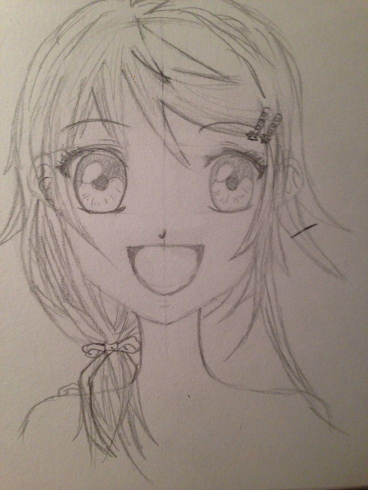 Manga meisje vooraanzicht (Manga meisjes tekenen voor beginners)