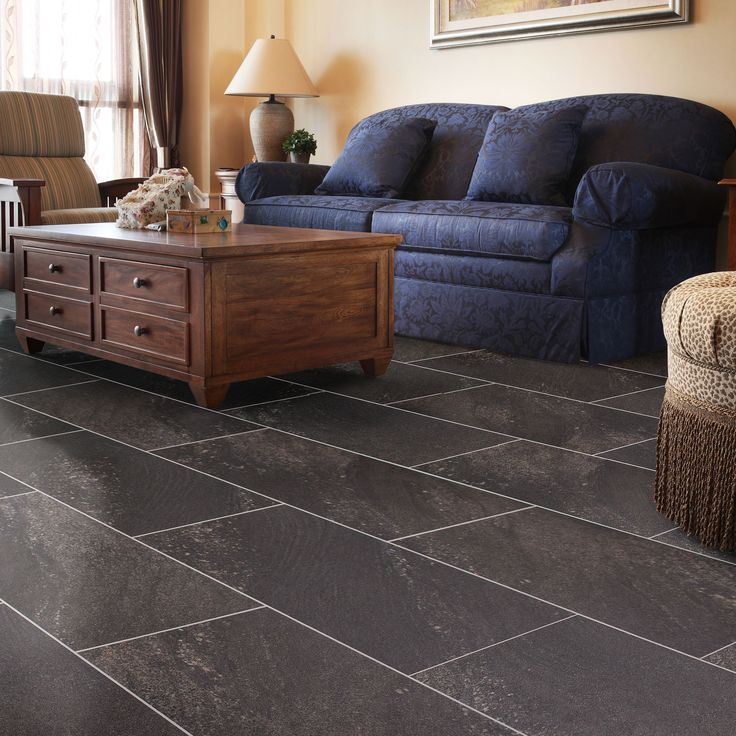 Dark Grey Natural Stone Effect Luxury Vinyl Click Flooring Pack 1.85 sq.m. | Departments | DIY at B&Q