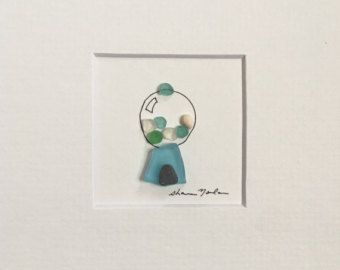 Sea glass art of pretty dresses framed art by sharon by PebbleArt