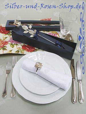 Silberne Rose im Geschenkkarton online bestellen