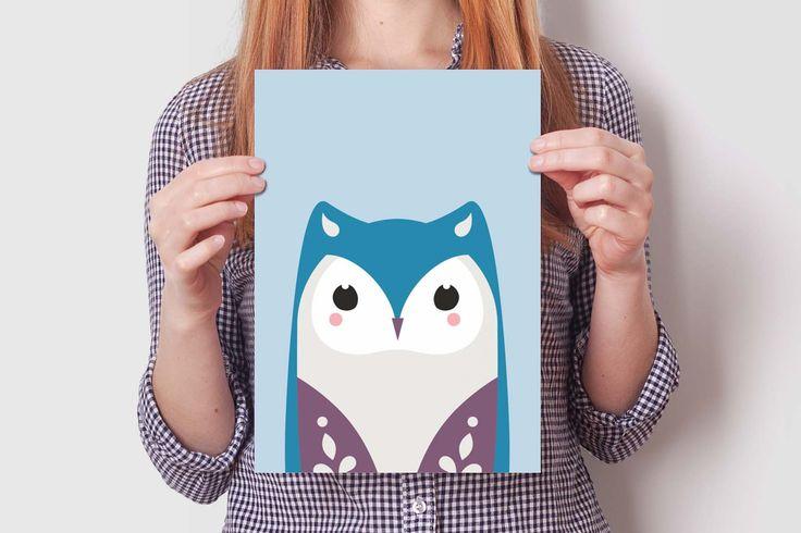 OWL print set #cute #owl #illustration #design #wallart #kidsroom #decoration #nursery
