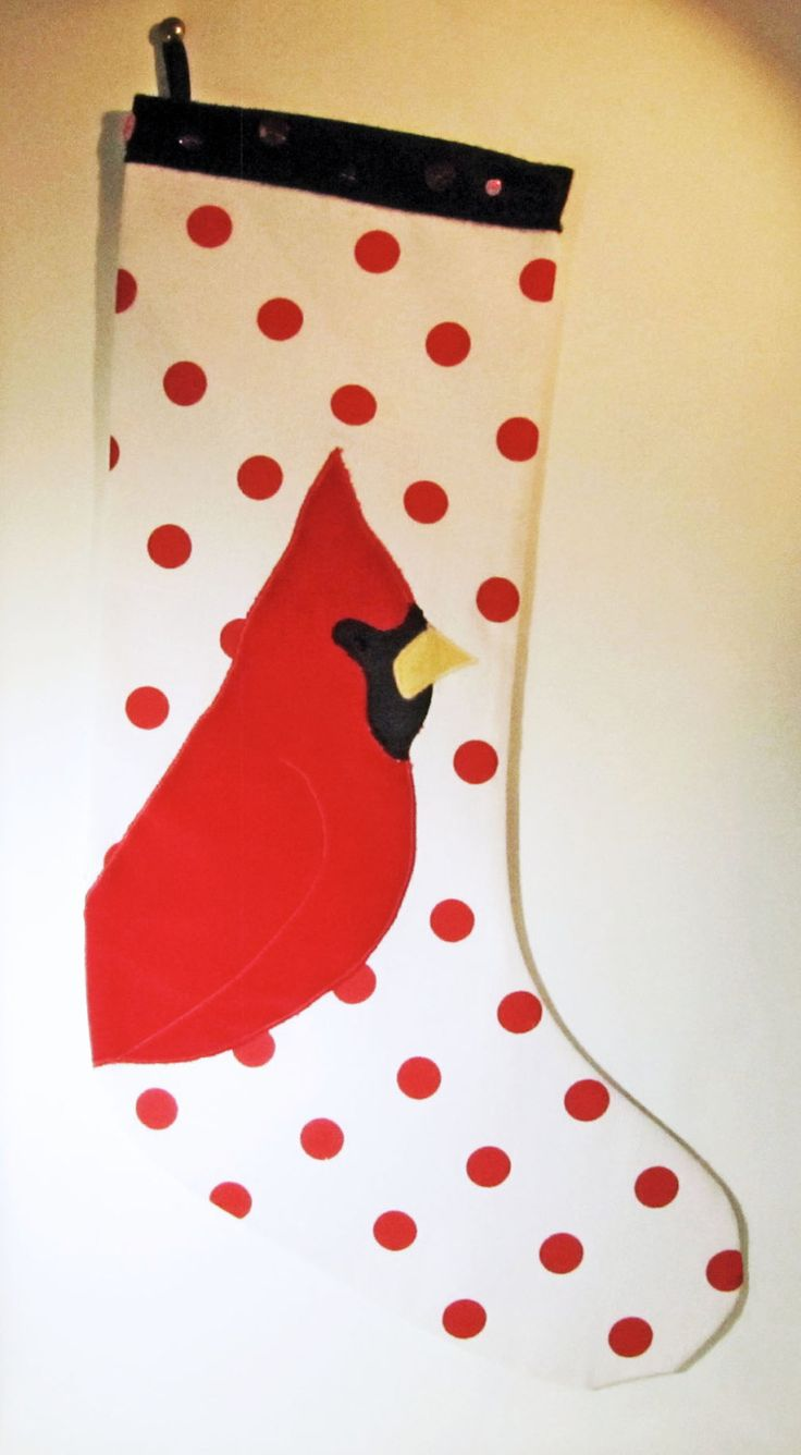 BAS DE NOEL, fait main-cardinal/Hand made Christmas stocking-cardinal de la boutique HOLESBAS sur Etsy