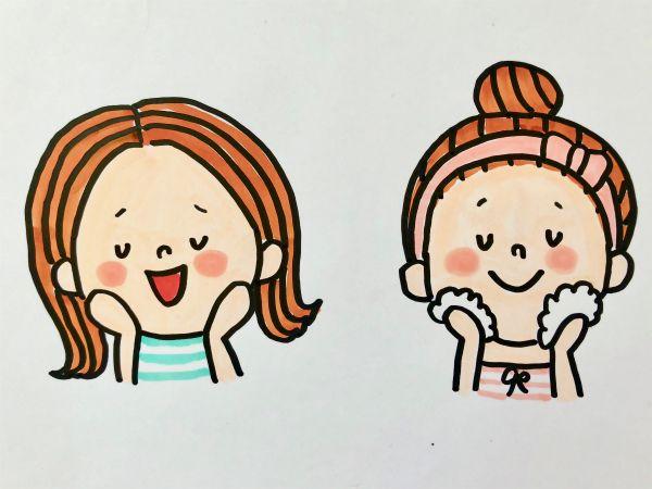 手書きpopセミナーでもご要望の多いイラストの描き方の紹介をします 美容サロンや化粧品のpopで 洗顔している女性のイラスト や 頬に手をあてて うっとり している顔をしている女性のイラストを描きたい時ってあるんですよね かわいい イラスト 手書き
