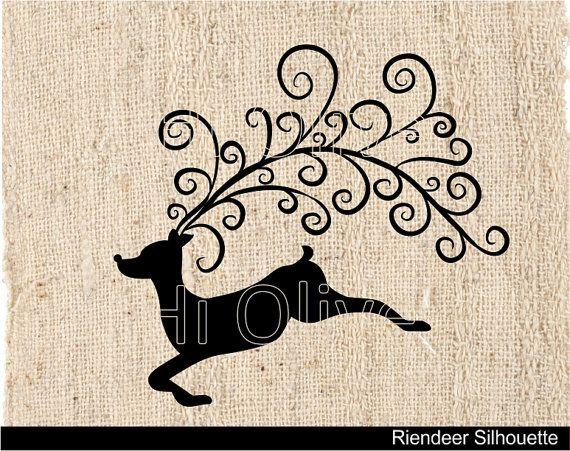 silhouette clip art,christmas clip art,reindeer clip art, black reindeer, burlap digital collage, xmas clip art,instant download on Etsy, $1.50