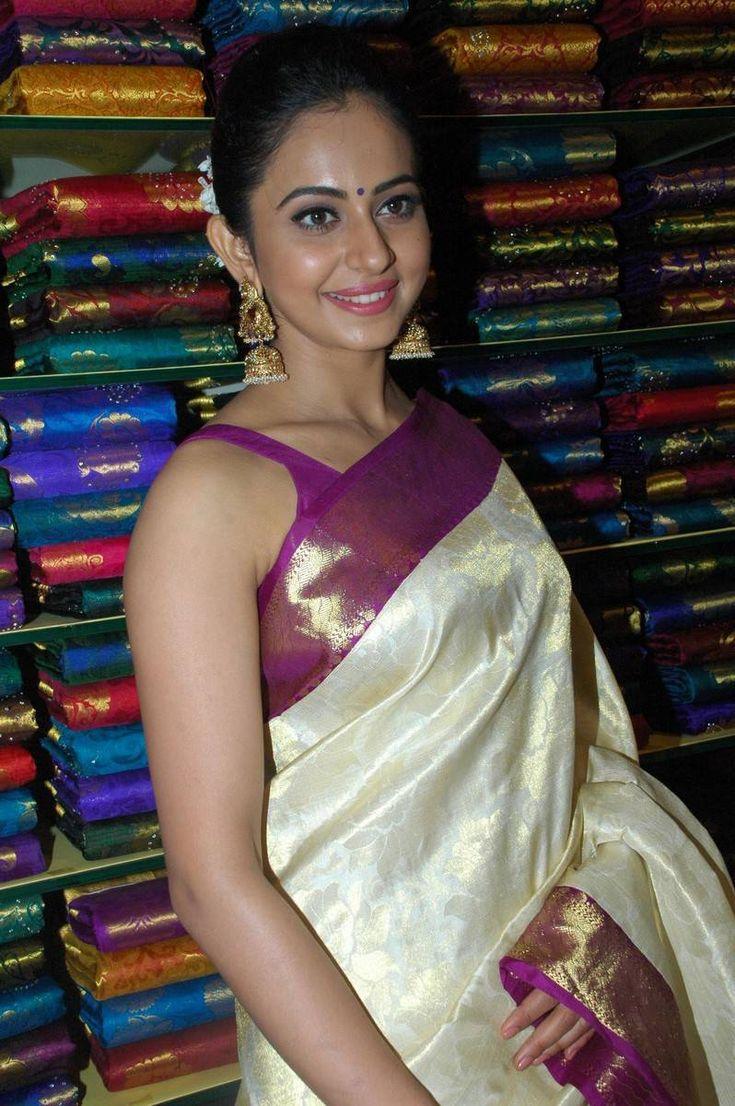Rakul Preet Photos In White Saree At South India Shopping Mall Launch - Tollywood Stars