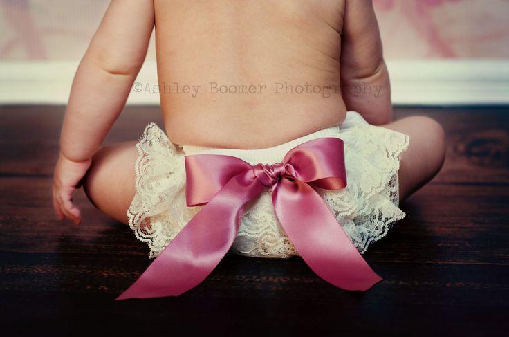 Ivory Mauve Lace Bloomer Set - Newborn Baby Toddler Diaper Cover - Cake Smash - Ava Madison Boutique