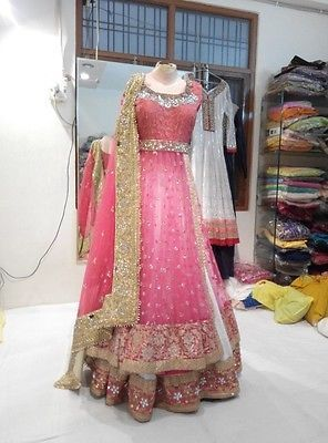 Doubled layer pink bridal lehenga choli