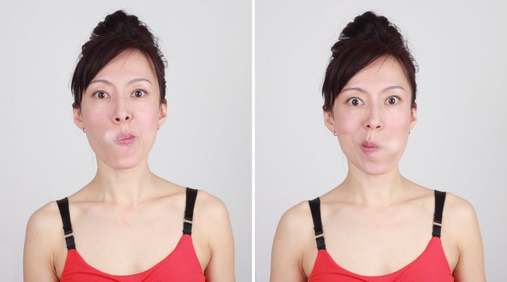 Laugh lines...breath through your nose, keep mouth closed. Push tongue against cheek hold for 10 seconds. Slowly move tongue across upper lip and nose to other cheek hold for 10 seconds. Repeat 3 times.