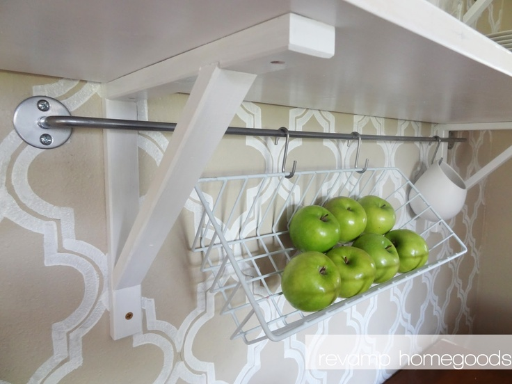 Ikea Bygel Rail And Repurposed Refrigerator Baskets For Extra Wall Storage.