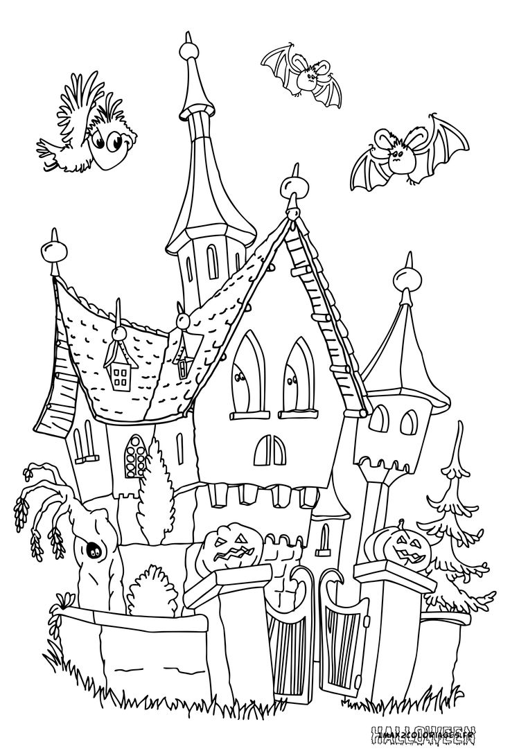 coloriages halloween le chateau hante a imprimer