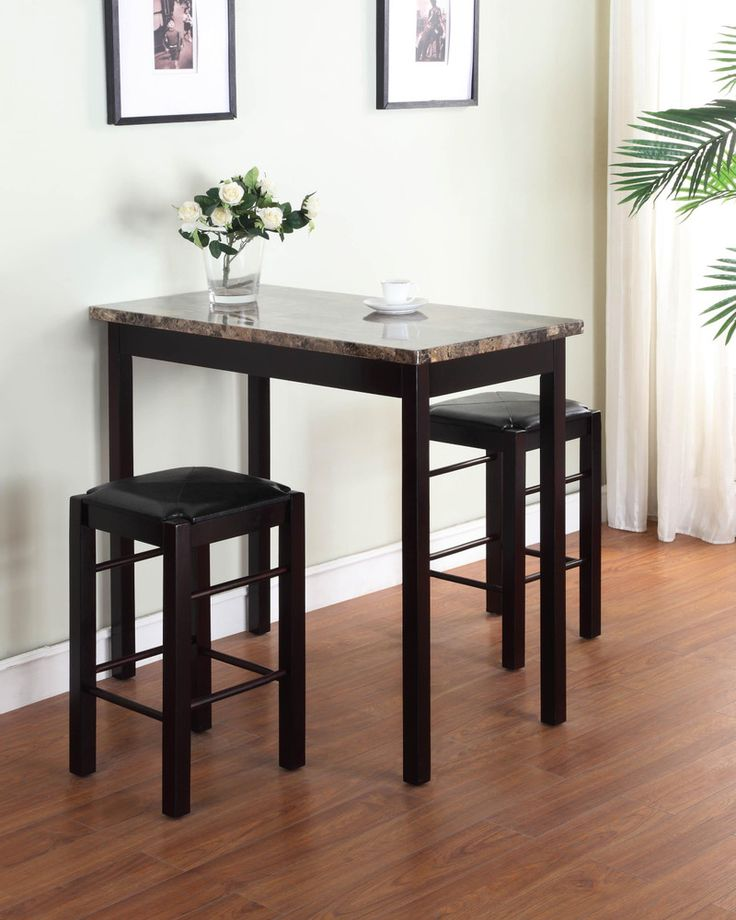 Modern Furniture Kitchen Hardwood Durable Table Bar Stools Dining Set Espresso #DiningSets