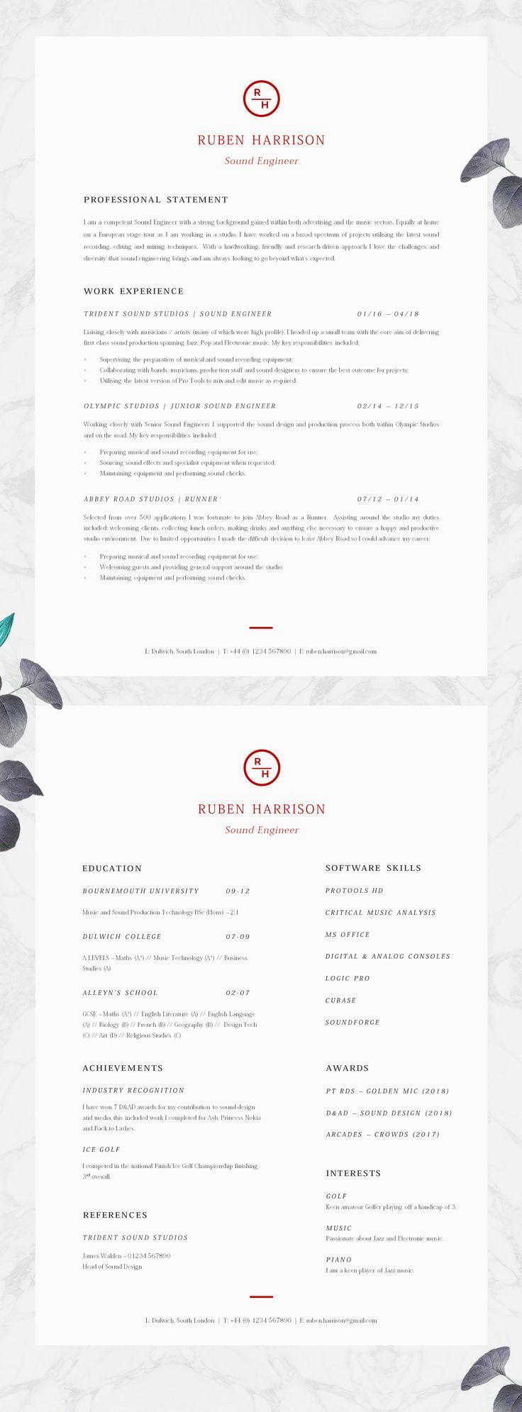 8 best CV templates images on Pinterest   Resume templates, Cv ...