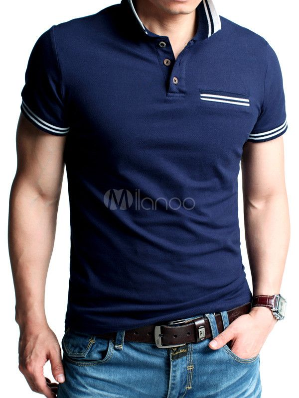 Fashion Solid Color Cotton Short Sleeves Polo Shirt For Men