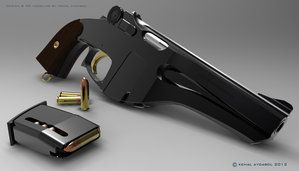 A Webley Automatic? There was such an animal, but it looked nothing like this Steampunk Pistol by dreamdesigner442