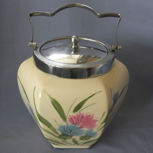 HAND PAINTED BURSLEY WARE BISCUIT BARREL WITH CORNFLOWER DECORATION - CHARMING