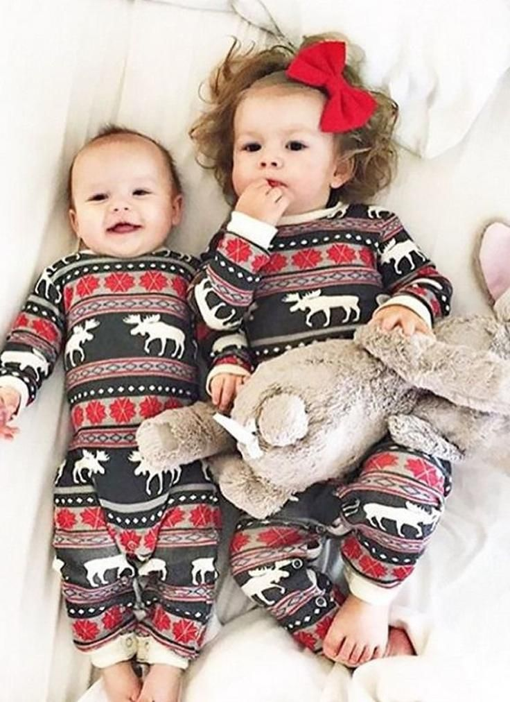 Family Christmas Pajamas With Baby.Infant Baby Bodysuit Rompers Christmas Family Look Pajamas